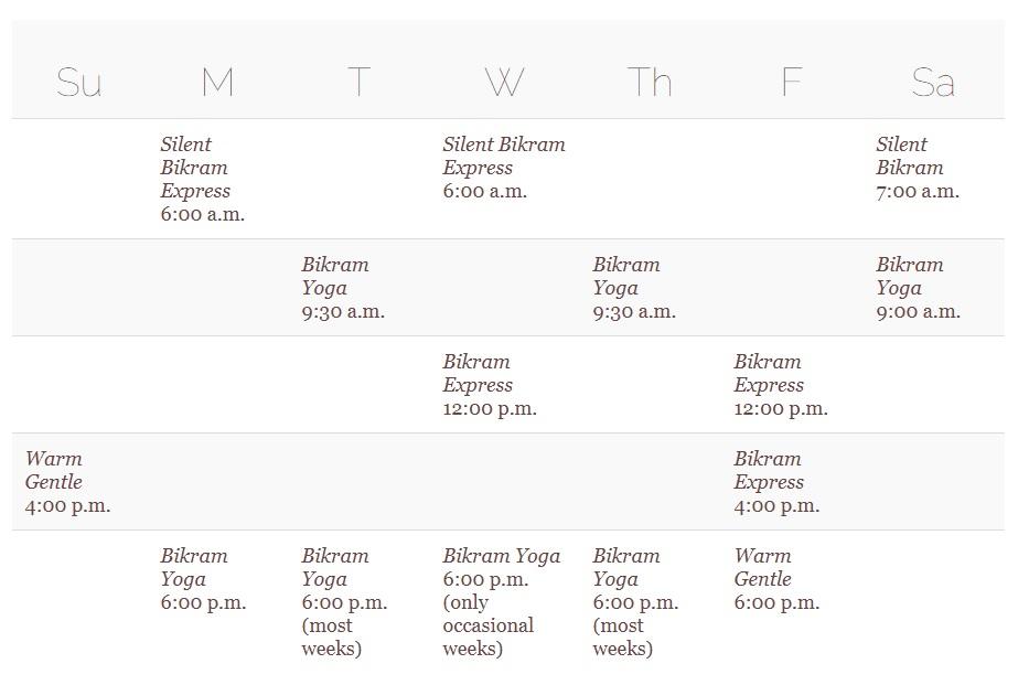 the hot spot class schedule