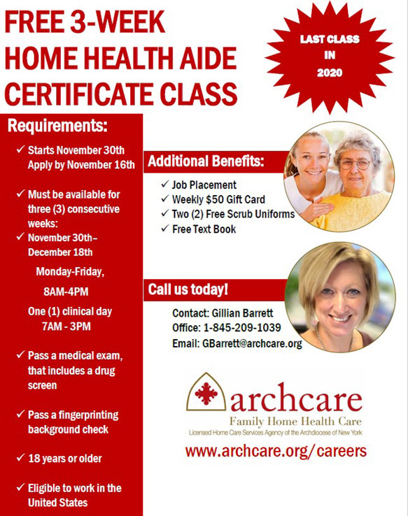 FREE 3-Week Home Health Aide Certificate Classes